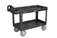 Rubbermaid 4546 HD 2-Shelf Utility Cart w/Lipped Shelf (Large)